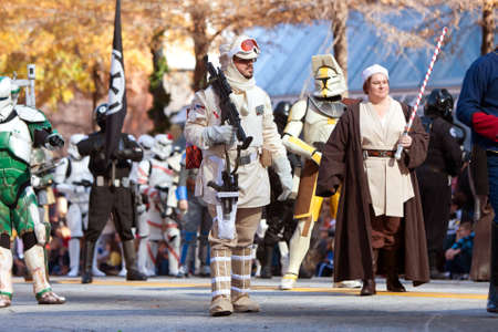 larger than life: Atlanta, GA, USA - December 1, 2012:  Characters from the Star Wars movies walk down Peachtree Street while taking part in the annual Atlanta Christmas parade in downtown Atlanta.