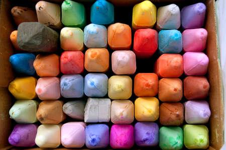 artisitc: Box of colorful chalk for creating sidewalk art