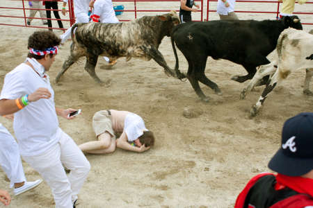 trampled: Conyers, GA, USA - October 19, 2013:  A man lies in the fetal position after being trampled while running with the bulls at The Great Bull Run at the Georgia International Horse Park.  The man walked away with minor injuries.
