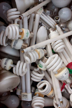 Lawrenceville, GA, USA - November 23, 2013:  A collection of broken and discarded light bulbs waits to be picked up at Gwinnett Countys America Recycles Day event.