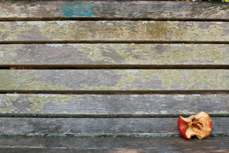 apple core: Eaten apple core sits on empty park bench Stock Photo