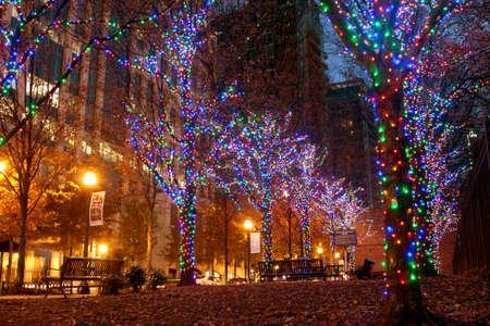 holiday lights display: Atlanta, GA, USA - November 25, 2014:  Colorful holiday lights adorn trees along Peachtree Street in midtown Atlanta.