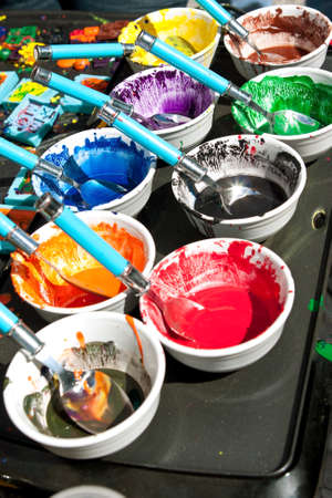 provide: Melted crayons provide colorful paints for art projects Stock Photo