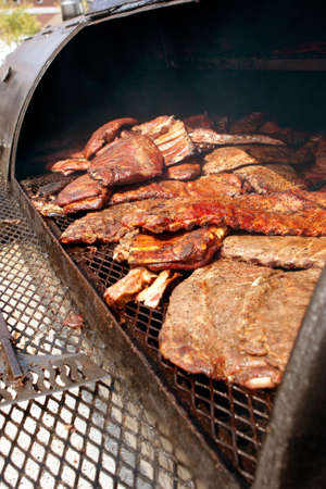 meat lover: Slabs of ribs barbeque on grill at festival Stock Photo