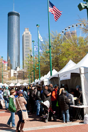 centennial: Atlanta, GA, USA - March 28, 2015:  Families and kids crowd the displays and exhibits at the Atlanta Science Fair at Centennial Park in Atlanta. Editorial