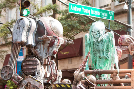 Atlanta, GA, USA - September 5, 2015:  Science fiction creatures scare spectators at the annual Dragon Con Parade on Peachtree Street in Atlanta, GA.