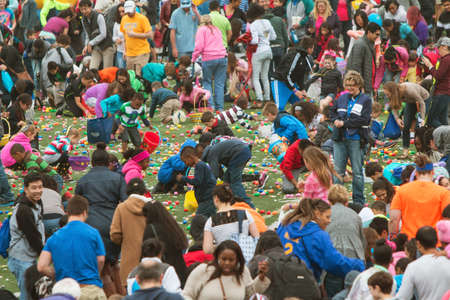 frenzied: Marietta, GA, USA - March 26, 2016:  Kids and parents eagerly grab plastic eggs and candy at the start of a massive community Easter egg hunt at Sprayberry High School on March 26, 2016 in Marietta, GA.
