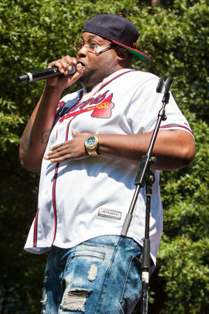 Atlanta, GA, USA - October 8, 2016:  An unidentified male artist performs on the stage at Atlanta Hip Hop Day, a free festival open to the public at Woodruff Park in downtown Atlanta, on October 8, 2016 in Atlanta, GA.