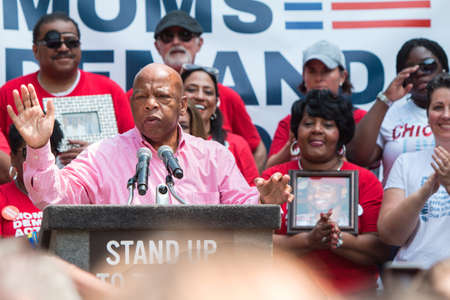 Atlanta, GA, USA - April 29, 2017:  Congressman John Lewis from Georgia speaks at a Moms Demand Action anti-gun, anti-NRA rally in Woodruff Park, on April 29, 2017 in Atlanta, GA.