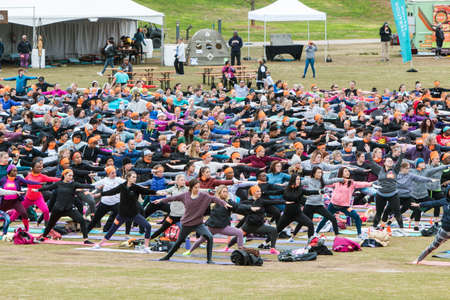 Atlanta, GA, USA - April 8, 2018:  Dozens of people do a version of the warrior pose as they take part in a massive group yoga class in Piedmont Park on April 8, 2018 in Atlanta, GA. Stock Photo - 117651115