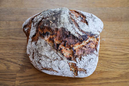 homemade rustic bread made of dinkel Stock Photo