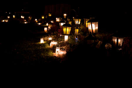 lanterns in a cementery lights up november 3 2018 写真素材