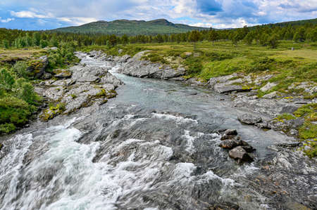 white water in a river high up in the mountains of Norway