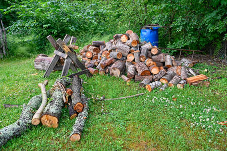 pile of firewood in a garden in Sweden