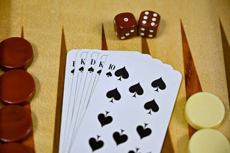 backgammon board with game pieces cards and dices 写真素材 - 158204228