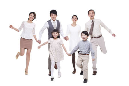 stepping: Cheerful family stepping forward LANG_EVOIMAGES