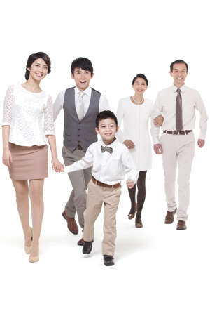 stepping: Happy family stepping forward