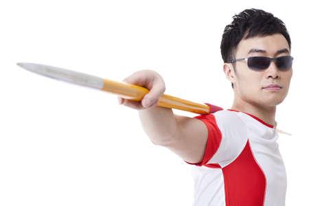 javelin: Male athlete with javelin