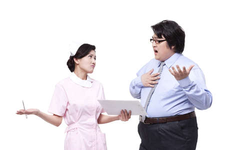 Nurse and overweight businessman in discussion
