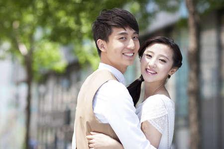Sweet young couple embracing