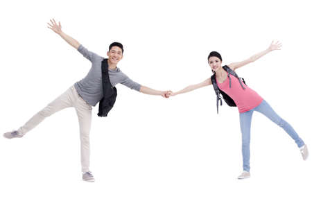 Excited college couple