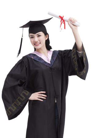 Happy college graduate in graduation gown