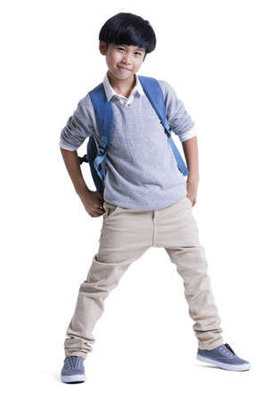 only boys: Cool boy with schoolbag on back