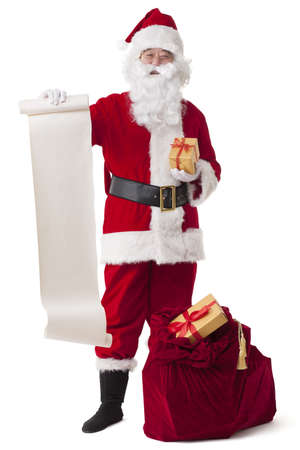 Santa Claus with gifts and the naughty list LANG_EVOIMAGES