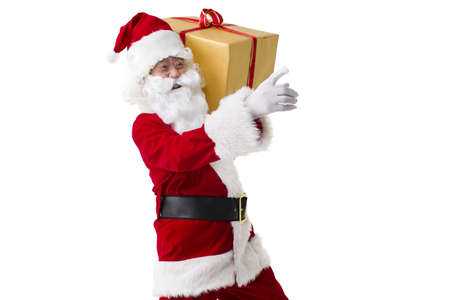 Santa Claus with heavy Christmas gift