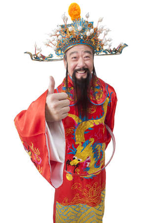 Chinese God of Wealth doing thumbs up