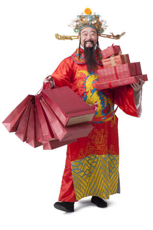 Chinese God of Wealth with gifts