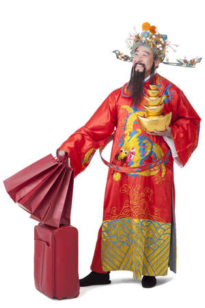 Chinese God of Wealth with gifts celebrating Chinese New Year