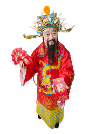 Chinese God of Wealth with red packets celebrating Chinese New Year