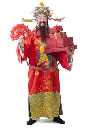Chinese God of Wealth with red pockets