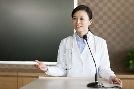 Female doctor giving a speech