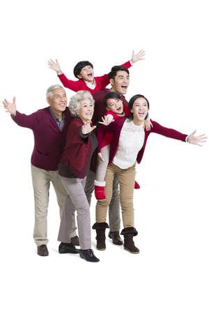 Portrait of big family waving