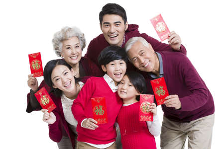 Big family with red pockets in Chinese New Year LANG_EVOIMAGES