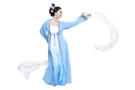 Young woman in traditional Chinese costume performing traditional dancing LANG_EVOIMAGES
