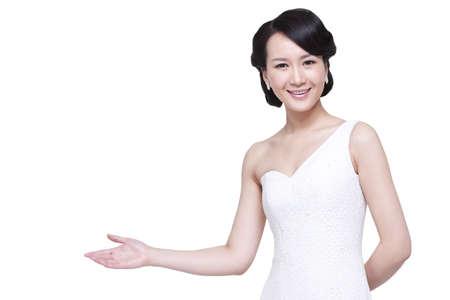 Beautiful elegant woman greeting LANG_EVOIMAGES