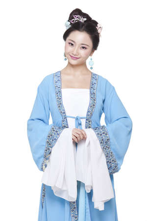 Portrait of young woman in Chinese traditional costume