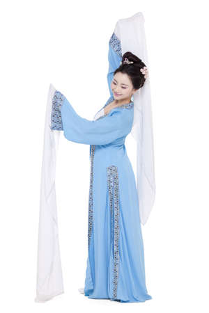 Young woman in traditional Chinese costume gesturing