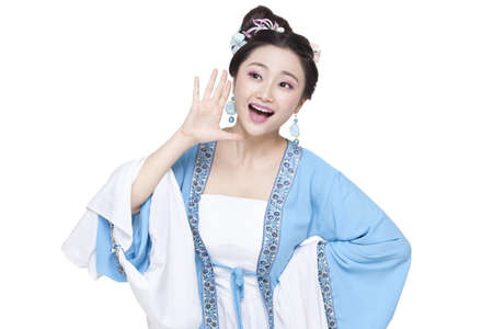 Young woman in Chinese traditional costume shouting