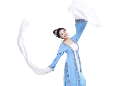 Young woman in traditional Chinese costume dancing