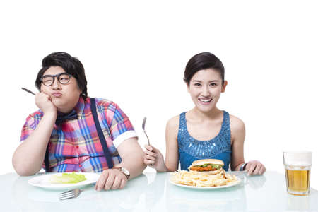 temperance: Different diet between overweight man and young woman