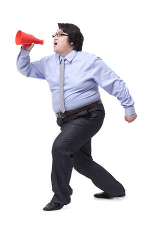 Overweight businessman shouting with megaphone LANG_EVOIMAGES