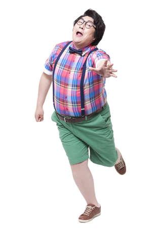 Cheerful overweight man running