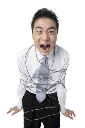 trapped: Businessman bound by cables