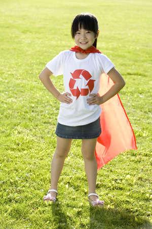 """niños reciclando: Protección del medio ambiente """"super girl"""" LANG_EVOIMAGES"""