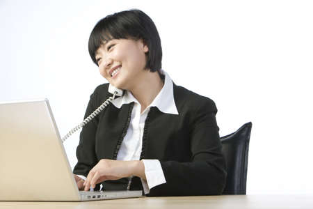 world at your fingertips: Businesswoman in office
