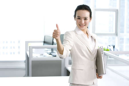 computers office: Office worker giving thumbs up